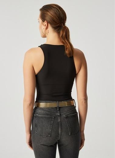 Monamoda Micro Elastan Yarım Astarlı Body Suit Siyah